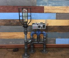 Robot Lamp, Pipe Lamp, Industrial Decor, Steampunk Lighting, Pipe Decor, Man Cave, Pipe Furniture, Pipe lamp, Robot, Industrial Lamp…