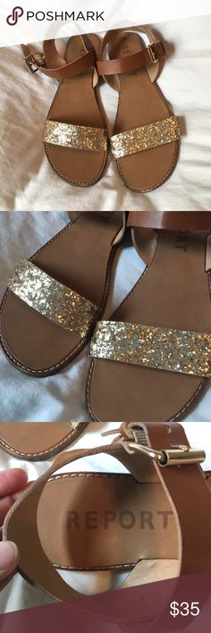 Brown and Gold Sequins Sandals Dress them up or down. They are great scandals! Report Shoes Sandals
