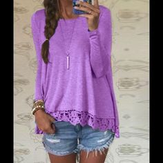 New bright lavender top Amazing, soft top - dress up or wear for casual Tops