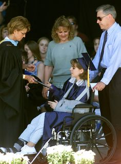 A obviously recovering Lisa Kreutz receiving her diploma. I read in an very error filled blog on Tumblr  that Pat Ireland was the only survivor in the library when Harris/Klebold died .100% wrong Lisa was the last survivor rescued from the immediate library after being there for two and a half hours.