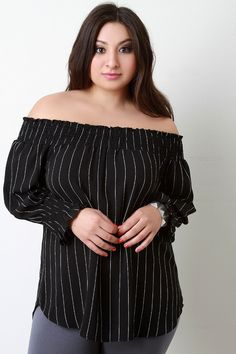 77e81a4cf6c63 Pinstripe Off-The-Shoulder Smocked Top. Women WearLong SleeveClothes ...
