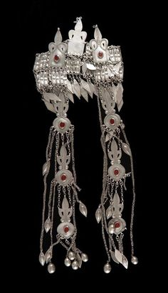Afghanistan | Bridal headdress. Silver with red glass