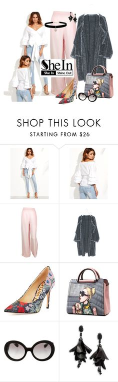 """""""White Blouse - Shein"""" by neicy-i ❤ liked on Polyvore featuring WithChic, Chanel, Sam Edelman, Prada, Oscar de la Renta and Betsey Johnson"""