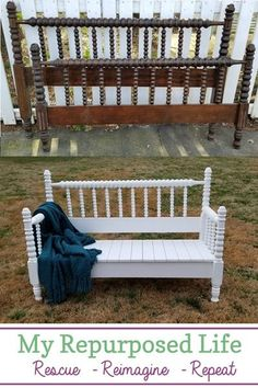 How to make a headboard bench out of a Jenny Lind bed using five basic power tools you may already have. Step by step directions will guide you through this weekend project. #MyRepurposedLife #5toolchallenge #repurposed #furniture #headboard #bench