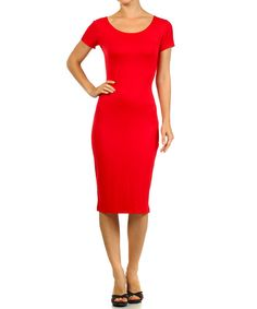 This BellaBerry USA Red Scoop Neck Bodycon Dress - Women by BellaBerry USA is perfect! #zulilyfinds