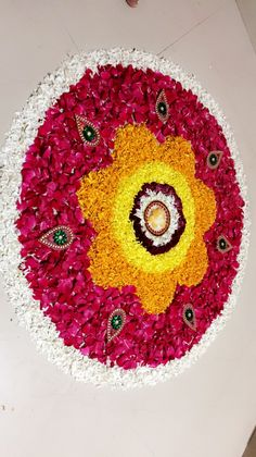 Flower Rangoli Design for Diwali🎆🎇 by me Rangoli Designs Flower, Flower Rangoli, Telugu Wedding, Diwali Rangoli, Home Wedding Decorations, Floating Flowers, Flowers Decoration, Housewarming Party, House Warming