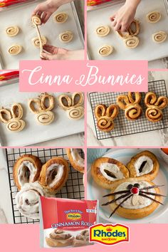 Rhodes Cinna Bunnies The kids will be hopping with excitement waiting for these Cinna-Bunnies to come out of the oven. Rhodes makes Cinnamon Rolls as good as homemade so you don't have to. Cinnamon Rolls are packaged 12 rolls per bag. Easter Cookies, Easter Treats, Easter Food, Hoppy Easter, Easter Dinner, Easter Brunch, Easter Recipes, Dessert Recipes, Desserts