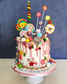 Candy Cake by Simran Dhanju - Sugar Shower Took me back to my childhood memorie. - Candy Cake by Simran Dhanju – Sugar Shower Took me back to my childhood memorie… - Torta Candy, Candy Cakes, Cupcake Cakes, Candy Birthday Cakes, Creative Birthday Cakes, Bolo Drip Cake, Drip Cakes, Candy Theme Cake, Sweetie Cake