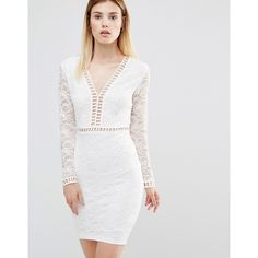 AX Paris Plunge Front Mini Dress With Lace Sleeves ($43) ❤ liked on Polyvore featuring dresses, cream, lace bodycon dress, body con dresses, white v neck dress, short lace dress and white cocktail dresses