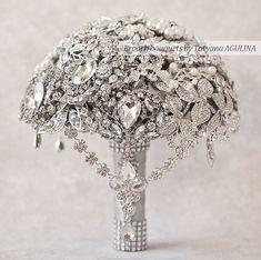 BROCHE BOUQUET. Clásico cristal boda broche bouquet, ramo de la joyería. Ramo de recuerdo de quinceañera, rico bouquet, ramo de novia.