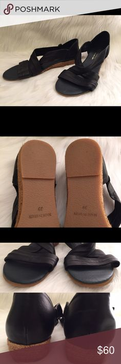 """Eric Michael Netty Leather Sandals Size 9 New, No box, Women's sandals, Supple leather, leather lined footbed, Jute wrapped wedge, approx 1"""" heel, rubber sole, Made in Spain. No trades. Please feel free to ask questions. Eric Michael Shoes Sandals"""