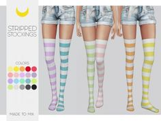 Stockings Stripped (Both) Made To Mix for The Sims 4 by Kalewa Sims Four, Sims 4 Mm Cc, Sims 4 Anime, Sims New, Sims 4 Children, Sims 4 Cc Packs, Sims 4 Toddler, Sims 4 Cc Skin, The Sims 4 Download
