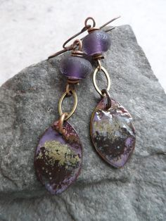 Grape Frost ... Enameled Copper Charms Lampwork and by juliethelen