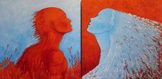 Daniela Biganzoli(Dab)-2013 Fuoco-100x100- tecnica mista su tela Acqua-100x100- Tecnica mista su tela La coppia di elementi Fuoco e Acqua viene rappresentata nelle due opere come donna e uomo, come yang e yin, come opposti ma complementari. Non a caso sono stati utilizzati i colori azzuro e arancio, proprio perché complementari. Grazie a questa caratteristica sembrano vibrare richiamando l'attenzione dell'osservatore che li percepisce con una luminosità rafforzata . .