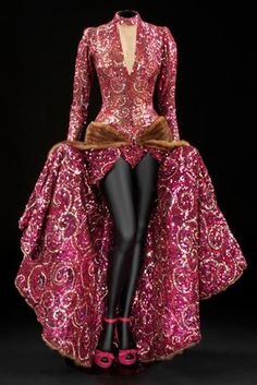 """Sequinned and beaded gown with mink trimmed train designed by Edith Head for Ginger Rogers as Liza Elliot in the 1944 film """"Lady in the Dark""""."""