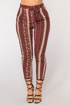 Available In Burgundy And Navy High Rise Woven Fabric Back Waist Band Crop Fit Inseam Tribal Print Rayon Spring Outfits, Trendy Outfits, Girl Outfits, Fashion Outfits, Women's Fashion, Tribal Print Pants, Burgundy Fashion, Pants For Women, Clothes For Women