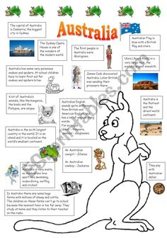 The handout I made for my students for a lesson about Australia. I got the information from wikipedia and from some worksheets posted here. The most useful were Vanda´s, Katie´s and Helene Monge´s ones, so thanks for sharing them with us.