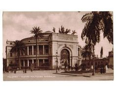 This vintage postcard, circa 1930s, features the Politeama Theatre on the Piazza Ruggero Settimo in Palermo, Sicily, Italy. The theater was constructed between 1865 and 1891 and was designed by architect Guissepe Damiani Almeyda.