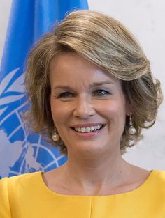 Royal Family Around the World: Belgian Queen Mathilde during brief meeting and photo-op in the Secretary-General's executive suite at UN Headquarters in New York City on July 12, 2016