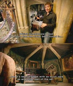 """A secret room behind Dumbledore's office. What?!"" Even the headmaster of Hogwarts needs a bedroom."