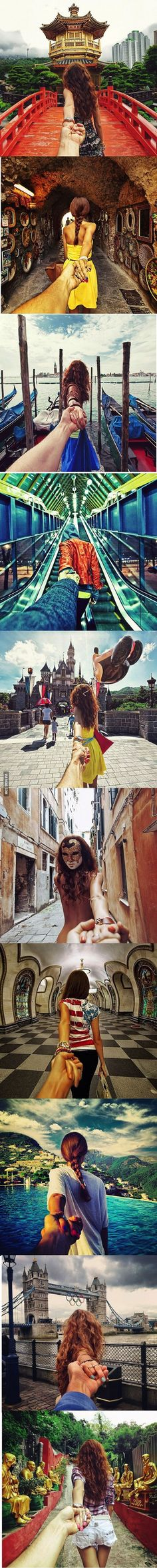 girlfriend leads him around the world