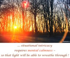 ... situational intricacy requires mental #calmness ~ so that #light will be able to wreathe through !