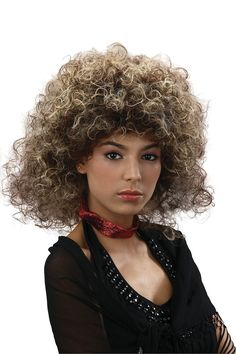 80s Glamour Wig Womans Retro Drag Fancy Dress Blonde Brown Black Wavy Long Adult
