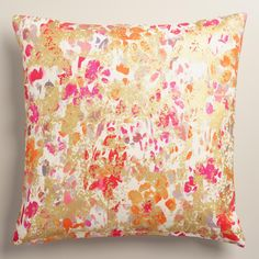 Featuring our vivid watercolor floral design with stamped petals and splashes of shimmering metallic gold, our exclusive throw pillow is an artistic statement piece with a soft 100% cotton feel. >> #WorldMarket Living Room