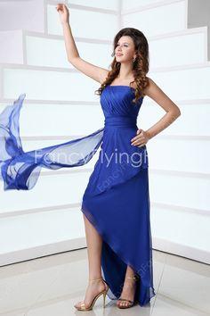 Fantastic Royal Blue One Shoulder High-low Homecoming Dress