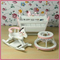 Dollhouse Miniature Bedroom Furniture 3 Piece Wooden Nursery Set M40 | eBay