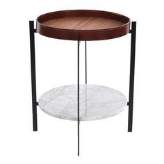 Deck sidobord, vit marmor/teak i gruppen Möbler / Bord / Sidobord
