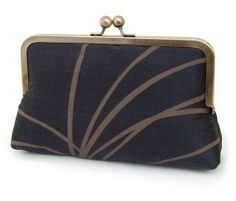Taupe and Noir clutch bag  luxury printed silk by redrubyrose, $75.00