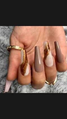 Brown Acrylic Nails, Brown Nails, Best Acrylic Nails, Acrylic Nail Designs, Brown Nail Designs, Purple Nails, Coffin Nail Designs, Painted Acrylic Nails, Chic Nail Designs