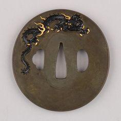 Tsuba Japanese, ca. 1615–1868 Copper-silver alloy (shibuichi), gold, copper-gold alloy (shakudō)
