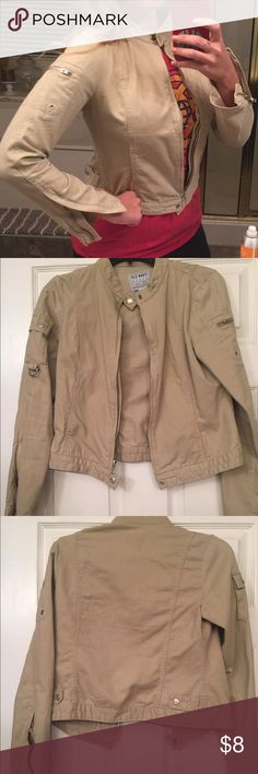 Old Navy Tan zipper jacket Super cute & comfortable Old Navy zipper jacket . Loved condition , small barely visible orange stain , shown in photo Old Navy Jackets & Coats Utility Jackets
