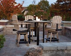 Amish Poly Pub Table and Four Swivel Pub Chairs Set Leisure Lawns Collection Gather your loved ones around this beautiful five piece Poly Pub Set and share a casual meal and your favorite bevera Outdoor Pub Table, Outdoor Bar Sets, Outdoor Decor, Outdoor Lounge, Outdoor Spaces, Outdoor Pergola, Outdoor Ideas, Amish Furniture, Outdoor Furniture Sets
