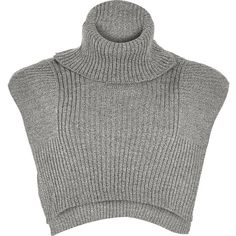 River Island Grey knitted turtle neck mock collar (€27) ❤ liked on Polyvore featuring accessories, grey, scarves, women and river island