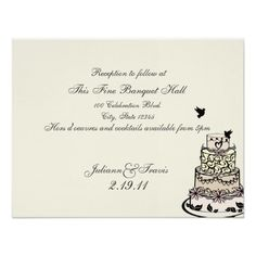 Shop Wedding Cake/ Reception Card created by weddinghut. Whimsical Wedding Cakes, Black Wedding Cakes, Illustrated Wedding Invitations, Wedding Invitation Design, Bridal Shower Cards, Reception Card, Create Your Own Invitations, Monogram Wedding, Response Cards