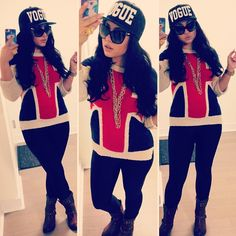 vogue black/white snapback - gold multichain necklace - black jeggings or jeans - black combat boots - black sunglasses - British flag sweater - gold watch - gold ring