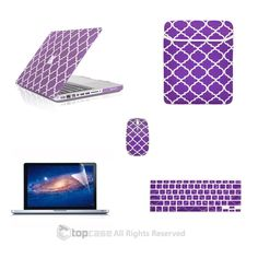 "TOP CASE 5 in 1 Bundle - Macbook Pro 13"" Quatrefoil Rubberized Hard Case + Keyboard Cover + Screen Protector + Sleeve Bag + Mouse for Model A1278 (PURPLE)"