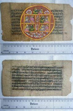 Rare Original Antique Old Manuscript Jain Cosmology New Hand Painting India#645