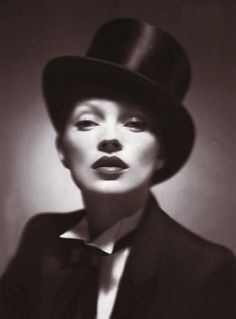 Kate Moss, in Dior Homme - 2006 - Strikes a pose inspired by Marlene Dietrich - Photo by Mert and Marcus - Vanity Fair