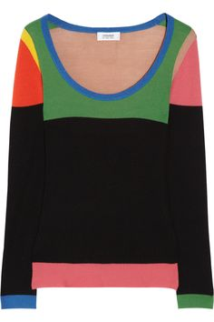 SONIA BY SONIA RYKIEL  Color-block ribbed wool sweater - I like the color-blocked trend for this up coming season!