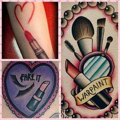 35 Ideas Makeup Artist Tattoo Tatoo For 2019 Lipstick Tattoos, Makeup Tattoos, Girly Tattoos, Love Tattoos, Body Art Tattoos, New Tattoos, Tattoos For Women, Tatoos, Makeup Artist Tattoo