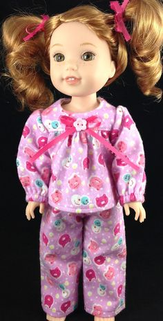 14.5 inch Doll Clothes made to fit Wellie Wishers.  Pink Winter Pajamas by GrandmaJansBoutique