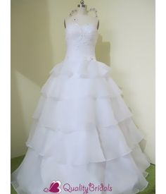 Organza Ball Gown Sweetheart White Quinceanera Dress With Beadings, Manmade Diamonds and Handmade Flower P2376