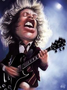 Cartoon Faces, Funny Faces, Cartoon Art, Funny Caricatures, Celebrity Caricatures, Heavy Metal, Hard Rock, Angus Young, Caricature Drawing