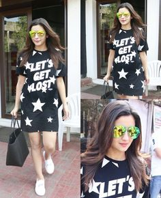 Alia Bhatt in a starry outfit. Love the reflector shades that she added for color! Mini Frock, Short Girl Fashion, Aalia Bhatt, Alia Bhatt Cute, Chic Outfits, Fashion Outfits, Alia And Varun, Stylish Girl Pic, Indore