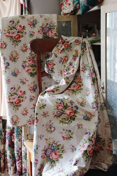 Image of Beautiful Homemade Vintage Floral Curtains