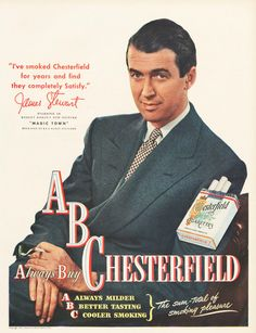 Jimmy Stewart advertising Chesterfield cigarettes, 1947